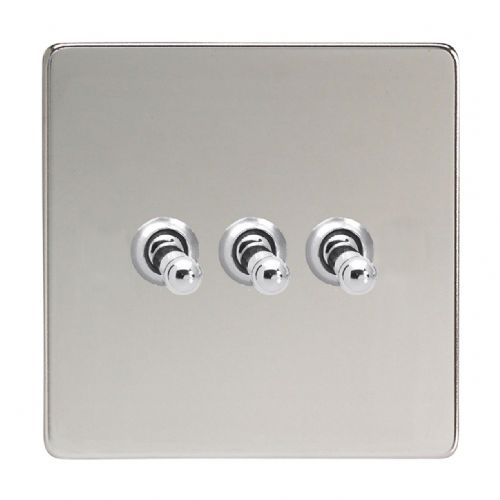 Varilight XDCT3S Screwless Polished Chrome 3 Gang 10A 1 or 2 Way Toggle Light Switch